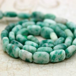 Shop Jade Bead Shapes! Natural Matte Mountain Jade Flat Rectangle Beads Gemstone – 8mm X 6mm – Full Strand | Natural genuine other-shape Jade beads for beading and jewelry making.  #jewelry #beads #beadedjewelry #diyjewelry #jewelrymaking #beadstore #beading #affiliate #ad