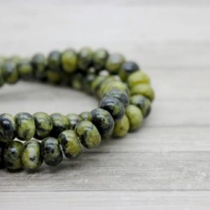 "Shop Jade Rondelle Beads! Green Jade Rondelle Gemstone Beads 8"" strand (5mm x 8mm beads, 2.5 mm hole) 
