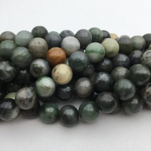 "Shop Jade Beads! Chinese Sinkiang Jade Smooth Round Beads 4mm 6mm 8mm 10mm 12mm 15.5"" Strand 