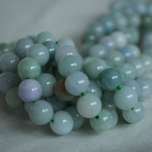 "High Quality Grade A Natural Jadeite Jade (aqua green) Semi-precious Gemstone Round Beads – 4mm, 6mm, 8mm, 10mm sizes – Approx 15.5"" strand 