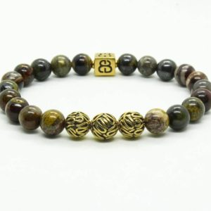 Shop Jasper Bracelets! Iron Zebra Jasper Bracelet, Men's Gold Bracelet, Bracelet Men,  Men's Bracelet, Beaded Bracelet, Bali Beads Bracelet Men, Bracelet For Men | Natural genuine Jasper bracelets. Buy handcrafted artisan men's jewelry, gifts for men.  Unique handmade mens fashion accessories. #jewelry #beadedbracelets #beadedjewelry #shopping #gift #handmadejewelry #bracelets #affiliate #ad