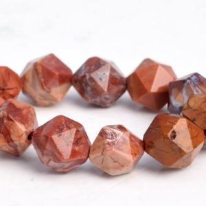 "Shop Jasper Faceted Beads! 7-8MM Red Porcelain Jasper Beads Star Cut Faceted Grade AAA Genuine Natural Gemstone Loose Beads 7.5"" BULK LOT 1,3,5,10 and 50 (102907h-626) 