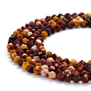 "Shop Jasper Faceted Beads! Mookaite Jasper Faceted Star Cut Beads 8mm 15.5"" Strand 