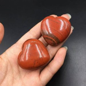 "Shop Jasper Bead Shapes! 1.6"" Red Jasper Stone Heart Crystal Heart Hand Carved Red Stone Heart Puffy Heart Shaped Stone Gemstone Healing Energy Crystal Gift CH 