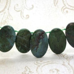 "Shop Green Jasper Beads! Green Jasper Natural Flat Oval Smooth Gemstone Beads Loose Bead 22mm x 36mm – 15.5"" Strand 