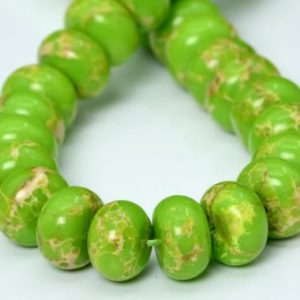 "Shop Green Jasper Beads! 13x9MM Apple Green Imperial Jasper Beads Grade AAA Natural Gemstone Half Strand Rondelle Loose Beads 7"" BULK LOT 1,3,5,10,50 (101907h-427) 