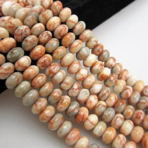 "Shop Jasper Rondelle Beads! 2.0mm Hole Red Web Jasper Smooth Rondelle Beads 6x10mm 8"" Strand 