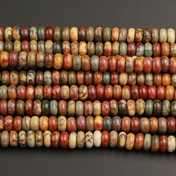 "Red Creek Jasper Rondelle Beads 6mm 8mm 10mm Red Green Yellow Brown Natural Cherry Creek Multi Color Multicolor Picasso Jasper 15.5"" Strand"