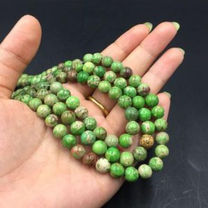 "Shop Green Jasper Beads! Green Jasper Beads Green Imperial Jasper Round Beads Gemstone Beads Supplies 4/6/8/10mm Jewelry making 15.5"" strand 