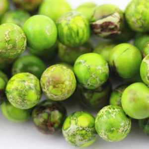 Shop Green Jasper Beads! High Quality Apple Green Imperial Jasper Smooth Round Beads 15.5'' Long per Strand Size 6mm/8mm/10mm.IMP-001V-01 | Natural genuine beads Jasper beads for beading and jewelry making.  #jewelry #beads #beadedjewelry #diyjewelry #jewelrymaking #beadstore #beading #affiliate #ad