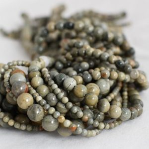 "Shop Green Jasper Beads! High Quality Grade A Natural Green Silver Leaf Jasper Semi-precious Gemstone Round Beads – 4mm, 6mm, 8mm, 10mm sizes – Approx 16"" strand 