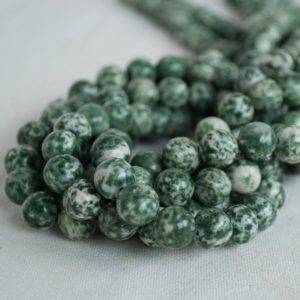 "Shop Green Jasper Beads! High Quality Grade A Natural Green Spot Jasper Semi-precious Gemstone Round Beads – 4mm, 6mm, 8mm, 10mm sizes – Approx 16"" strand 