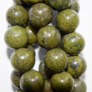 "Shop Green Jasper Beads! Natural Green Jasper Beads – Round 10 mm Gemstone Beads – Full Strand 15 1/2"", 40 beads, A Quality 