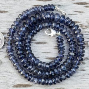 Shop Kyanite Necklaces! Kyanite Necklace 6-10mm Blue Kyanite micro facet Rondelle Necklace – Kyanite Beads – Kyanite Necklace Blue Kyanite Necklace 6-10mm necklace | Natural genuine Kyanite necklaces. Buy crystal jewelry, handmade handcrafted artisan jewelry for women.  Unique handmade gift ideas. #jewelry #beadednecklaces #beadedjewelry #gift #shopping #handmadejewelry #fashion #style #product #necklaces #affiliate #ad