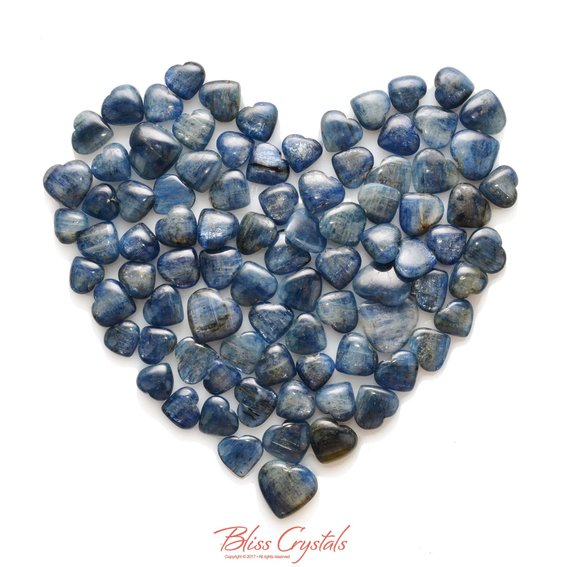 Gemmy! 1 Blue Kyanite Mini Heart Polished Tumbled Stone Natural Crystal Jewelry & Crafts Healing Crystals And Stones #kh01