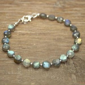 Labradorite Bracelet, Labradorite Jewelry, Blue Flash, Layering, Stacking, Silver, Gold or Rose Gold Beads | Natural genuine Labradorite bracelets. Buy crystal jewelry, handmade handcrafted artisan jewelry for women.  Unique handmade gift ideas. #jewelry #beadedbracelets #beadedjewelry #gift #shopping #handmadejewelry #fashion #style #product #bracelets #affiliate #ad