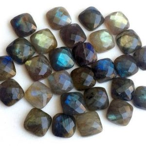 Shop Labradorite Cabochons! WHOLESALE 10 Pcs Labradorite Rose Cut Cushion Cut Cabochons, Labradorite Flat Back Cabochons, Faceted Square Cabs, 12-13mm – KS3601 | Natural genuine stones & crystals in various shapes & sizes. Buy raw cut, tumbled, or polished gemstones for making jewelry or crystal healing energy vibration raising reiki stones. #crystals #gemstones #crystalhealing #crystalsandgemstones #energyhealing #affiliate #ad
