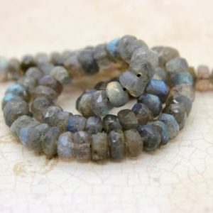 Shop Labradorite Beads! Natural Labradorite Faceted Rondelle Loose Beads Gemstone – Full Strand | Natural genuine beads Labradorite beads for beading and jewelry making.  #jewelry #beads #beadedjewelry #diyjewelry #jewelrymaking #beadstore #beading #affiliate #ad