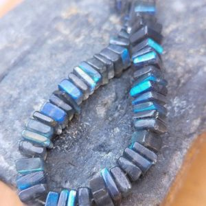 Shop Labradorite Rondelle Beads! Labradorite Rondelle Handcut Square Heishi Beads 4-5 Mm Approx / Flashy Labradorite Beads Natural Labradorite / aaa Labradorite Beads 5 Beads | Natural genuine rondelle Labradorite beads for beading and jewelry making.  #jewelry #beads #beadedjewelry #diyjewelry #jewelrymaking #beadstore #beading #affiliate #ad