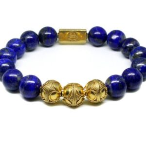 Shop Lapis Lazuli Bracelets! Lapis Lazuli and Gold Beads Bracelet, Bead Bracelet Man, Men's Lapis Lazuli Bracelet, Men's Luxury Bracelet, Men's Blue Bracelet | Natural genuine Lapis Lazuli bracelets. Buy crystal jewelry, handmade handcrafted artisan jewelry for women.  Unique handmade gift ideas. #jewelry #beadedbracelets #beadedjewelry #gift #shopping #handmadejewelry #fashion #style #product #bracelets #affiliate #ad