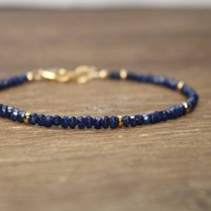 Lapis Bracelet, Lazuli Lapis Jewelry, Minimalist, Layering Bracelet, Gemstone Jewelry, Silver, Gold or Rose Gold | Natural genuine Lapis Lazuli bracelets. Buy crystal jewelry, handmade handcrafted artisan jewelry for women.  Unique handmade gift ideas. #jewelry #beadedbracelets #beadedjewelry #gift #shopping #handmadejewelry #fashion #style #product #bracelets #affiliate #ad