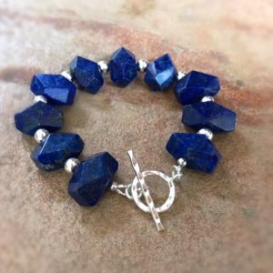 Shop Lapis Lazuli Bracelets! Lapis Bracelet – Navy Blue Jewelry – Sterling Silver Jewellery – Gemstone – Beaded – Lapis Lazuli – Chunky | Natural genuine Lapis Lazuli bracelets. Buy crystal jewelry, handmade handcrafted artisan jewelry for women.  Unique handmade gift ideas. #jewelry #beadedbracelets #beadedjewelry #gift #shopping #handmadejewelry #fashion #style #product #bracelets #affiliate #ad