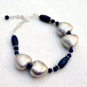 Shop Lapis Lazuli Bracelets! Lapis Lazuli Bracelet – Navy Blue Jewelry – Mother Daughter – Sterling Silver Heart – Gemstone Jewellery | Natural genuine Lapis Lazuli bracelets. Buy crystal jewelry, handmade handcrafted artisan jewelry for women.  Unique handmade gift ideas. #jewelry #beadedbracelets #beadedjewelry #gift #shopping #handmadejewelry #fashion #style #product #bracelets #affiliate #ad