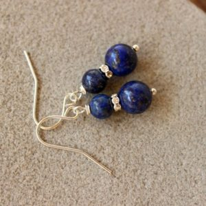 Shop Lapis Lazuli Earrings! Lapis Lazuli Earrings, Lapis Earrings, Lapis Lazuli Jewelry, Blue Bead Earrings, Lapis Silver Earring, Chakra Earring, Blue Gemstone Earring | Natural genuine Lapis Lazuli earrings. Buy crystal jewelry, handmade handcrafted artisan jewelry for women.  Unique handmade gift ideas. #jewelry #beadedearrings #beadedjewelry #gift #shopping #handmadejewelry #fashion #style #product #earrings #affiliate #ad