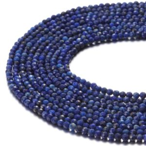 Shop Lapis Lazuli Faceted Beads! Nice Faceted Lapis Lazuli Gemstone Round Loose Beads Size 2mm/3mm/4mm 15.5 Inches per Strand.GEM-171120-59 | Natural genuine faceted Lapis Lazuli beads for beading and jewelry making.  #jewelry #beads #beadedjewelry #diyjewelry #jewelrymaking #beadstore #beading #affiliate #ad