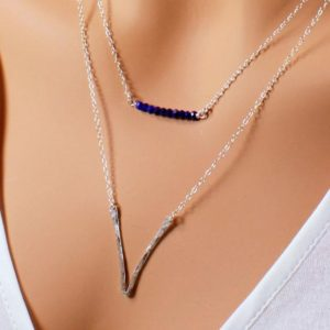Shop Lapis Lazuli Necklaces! Lapis Gemstone Sterling Silver Gold Filled Bar Necklace, minimalist simple dainty trendy layering modern pendant, holiday gift for her 4045 | Natural genuine Lapis Lazuli necklaces. Buy crystal jewelry, handmade handcrafted artisan jewelry for women.  Unique handmade gift ideas. #jewelry #beadednecklaces #beadedjewelry #gift #shopping #handmadejewelry #fashion #style #product #necklaces #affiliate #ad