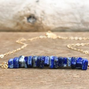 Shop Lapis Lazuli Necklaces! Raw Lapis Lazuli Bar Necklace – Raw Stone Necklace  – September Birthday Gift for Her – Lapis Lazuli Jewelry – September Birthstone Necklace | Natural genuine Lapis Lazuli necklaces. Buy crystal jewelry, handmade handcrafted artisan jewelry for women.  Unique handmade gift ideas. #jewelry #beadednecklaces #beadedjewelry #gift #shopping #handmadejewelry #fashion #style #product #necklaces #affiliate #ad