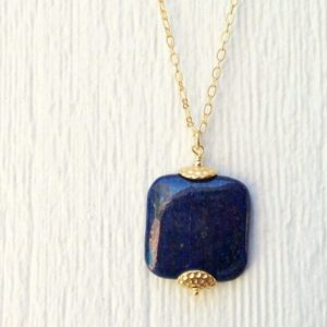 Shop Lapis Lazuli Pendants! Lapis Necklace –  Navy Blue Jewelry – Lapis Lazuli Gemstone – Gold Jewellery – Chain – Pendant | Natural genuine Lapis Lazuli pendants. Buy crystal jewelry, handmade handcrafted artisan jewelry for women.  Unique handmade gift ideas. #jewelry #beadedpendants #beadedjewelry #gift #shopping #handmadejewelry #fashion #style #product #pendants #affiliate #ad
