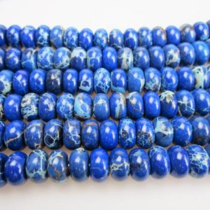 "2.0mm Hole Dark Blue Sea Sediment Jasper Rondelle Beads 5x8mm 6x10mm 8"" Strand 