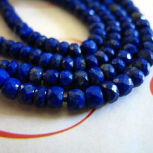 LAPIS Rondelles Beads, Luxe AAA, 3-4 mm, 1/2 Strand, September birthstone, pyrite inclusions, brides bridal jj | Natural genuine beads Array beads for beading and jewelry making.  #jewelry #beads #beadedjewelry #diyjewelry #jewelrymaking #beadstore #beading #affiliate #ad