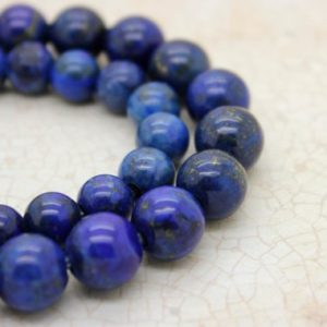 "Shop Lapis Lazuli Round Beads! Dye Lapis Smooth Round Gemstone 8mm 10mm Beads (8"" Strand – 2.5 Mm Hole) 