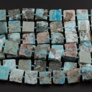 "Natural Blue Larimar Beads Large Chunky Thick Square Uniform Slice Slab Rectangle Nuggets Raw Rough Gemstone Focal Beads 16"" Strand 