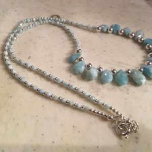 Shop Larimar Necklaces! Larimar Necklace – Sterling Silver Jewelry – Blue Gemstone Jewellery – Chic – Luxe – Beaded | Natural genuine Larimar necklaces. Buy crystal jewelry, handmade handcrafted artisan jewelry for women.  Unique handmade gift ideas. #jewelry #beadednecklaces #beadedjewelry #gift #shopping #handmadejewelry #fashion #style #product #necklaces #affiliate #ad