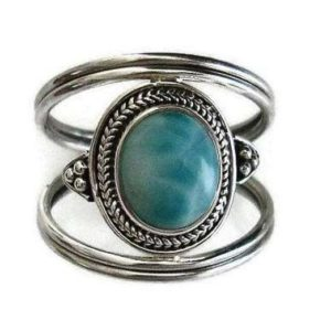 Shop Larimar Rings! Larimar Nepali Style Silver Ring, Larimar Silver Ring, Caribbean Stone, Gemstone Jewellery, Boho Ring, Boho Jewellery, Mistry Gems, R29L | Natural genuine Larimar rings, simple unique handcrafted gemstone rings. #rings #jewelry #shopping #gift #handmade #fashion #style #affiliate #ad