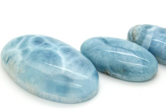 Natural Dominican Larimar Rock Gemstone Oval Marquise Beads For Pendant Grade Aaa