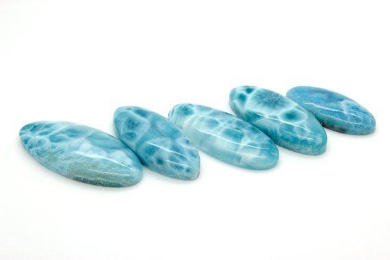 Natural Larimar Rock Gemstone Oval Marquise Beads For Pendant