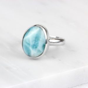 Shop Larimar Jewelry! Mens Larimar Ring, Blue Larimar Ring, Larimar Jewelry, Silver Larimar Ring, Blue Gemstone Ring, Mens Blue Stone Ring, Natural Larimar Ring | Natural genuine Larimar jewelry. Buy handcrafted artisan men's jewelry, gifts for men.  Unique handmade mens fashion accessories. #jewelry #beadedjewelry #beadedjewelry #shopping #gift #handmadejewelry #jewelry #affiliate #ad
