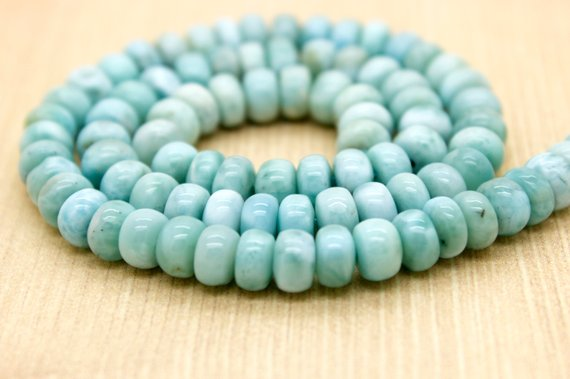 Grade Aa High Quality Larimar Natural Smooth Gemstone Rondelle Beads (5mm X 8mm) - Full Strand