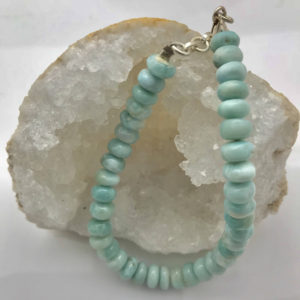 Shop Larimar Bracelets! Larimar-Rondelle-Large Bead-Sterling Silver Toggle-Bracelet-Unisex | Natural genuine Larimar bracelets. Buy crystal jewelry, handmade handcrafted artisan jewelry for women.  Unique handmade gift ideas. #jewelry #beadedbracelets #beadedjewelry #gift #shopping #handmadejewelry #fashion #style #product #bracelets #affiliate #ad
