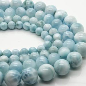 High Quality Genuine Larimar Natural Gemstone Smooth Round Sphere Stone Beads (6mm 8mm 10mm 12mm) | Natural genuine round Larimar beads for beading and jewelry making.  #jewelry #beads #beadedjewelry #diyjewelry #jewelrymaking #beadstore #beading #affiliate #ad