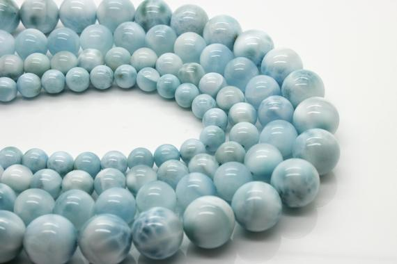 High Quality Genuine Larimar Natural Gemstone Smooth Round Sphere Stone Beads (6mm 8mm 10mm 12mm)