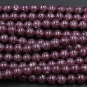 "Lepidolite 4mm 6mm 8mm 10mm Round Beads A Grade High Quality Chatoyant 100% Natural Plum Purple Gemstone 15.5"" Strand 