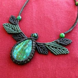 Macrame leaves necklace with Chrysocolla, Macrame leaves, Macrame necklace, macrame chrysocolla, chrysocolla necklace, macrame jewelry, egst | Natural genuine Gemstone necklaces. Buy crystal jewelry, handmade handcrafted artisan jewelry for women.  Unique handmade gift ideas. #jewelry #beadednecklaces #beadedjewelry #gift #shopping #handmadejewelry #fashion #style #product #necklaces #affiliate #ad