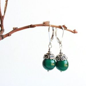 Shop Malachite Earrings! Malachite Earrings, Sterling Silver, Natural Deep Green Gemstone, Dangle Drop, Boho Luxe, Classic Statement, Holiday Gift Ideas For Her, 5133 | Natural genuine Malachite earrings. Buy crystal jewelry, handmade handcrafted artisan jewelry for women.  Unique handmade gift ideas. #jewelry #beadedearrings #beadedjewelry #gift #shopping #handmadejewelry #fashion #style #product #earrings #affiliate #ad