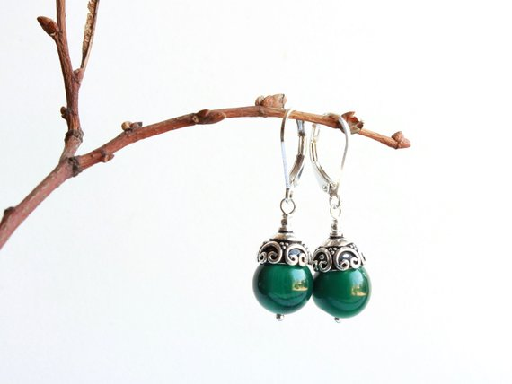 Malachite Sterling Silver Earrings Natural Deep Green Gemstone Boho Luxe Classic Statement Dangle Drops Holiday Gift For Women 5133