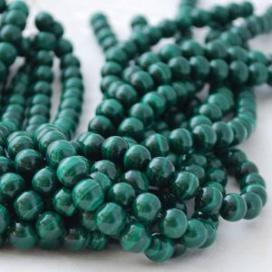 "Shop Malachite Round Beads! High Quality Grade A Natural Malachite Semi-precious Gemstone Round Beads – 4mm, 6mm, 8mm, 10mm sizes – Approx 16"" strand 